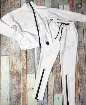 """Хлопковый спортивный костюм """"Moncler"""" / Белый"""