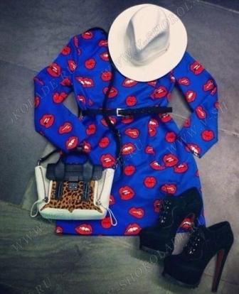 Платье Синее с красными губами