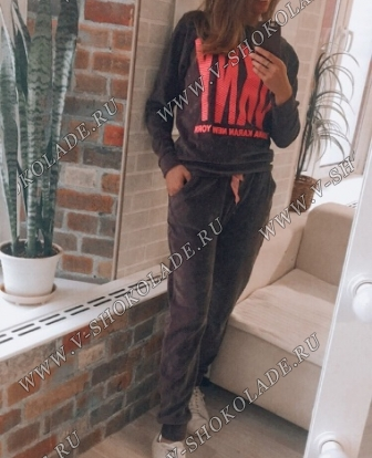 "Велюровый костюм ""DKNY"" Темно-серый"