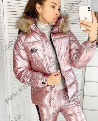Зимний спортивный костюм Куртка и штаны / Розовый металлик