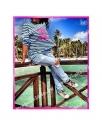 Тельняшка Шанель Розовый неон Chanel синяя полоска