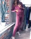 Вязаный спортивный костюм на молнии / Фиолетовый
