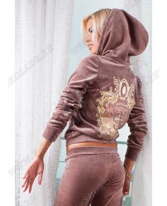 """Велюровый костюм на молнии """"Juicy Couture"""" Шоколад"""