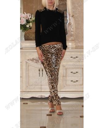 Леггинсы с лампасами Леопардовые (узкие брюки с карманами)