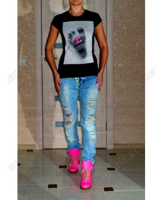 Футботлка женская трикотаж с эластаном  Логотип Chanel и буквы в стразах!