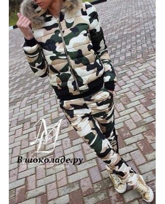 """Осенний костюм женский """"Милитари"""" Камуфляжный хаки"""
